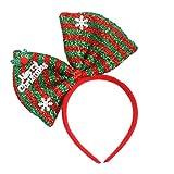 Hair Hoop Xmas Hair Accessory Headwear Colorful Bow Headband Christmas Holiday Party Supplies Gifts (Green)