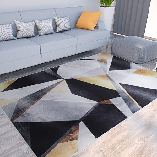 Milnsirk tappeto rettangolare geometrico moderno a pelo corto, Per salotto, cameretta, sala, corridoio, soggiorno ( Nero beige, 160 x 230 cm )