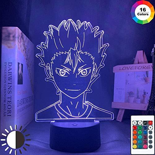 giyiohok 3D Illusion Lamp Led Night Light Anime Haikyuu Nishinoya Yuu Figure for Children Room Decor Colorful Office Manga Gift