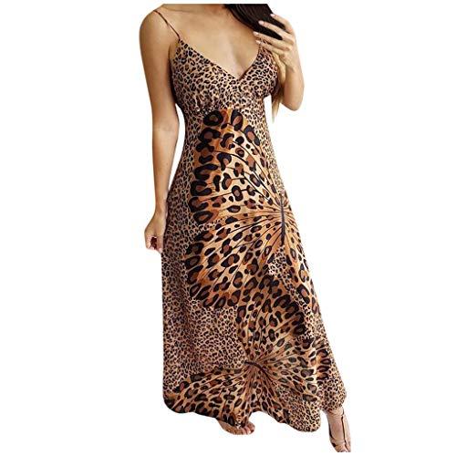 Plantb Damen Sling Kleid Langer Ärmelloses V-Ausschnitt Kleider Leopard Print Schmetterlingsdruck Kleid Minikleid
