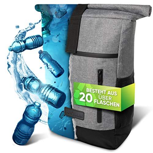 invilus ® - Rolltop Rucksack Damen und Herren Grau aus Recycelten Plastikflaschen - Rucksack Uni - Laptop Rucksack - Rucksäcke Damen - Tagesrucksack Damen - Rucksack Schule - Fahrradrucksack