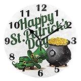 Sombrero de leprechaun azadas monedas de oro maceta pared reloj...