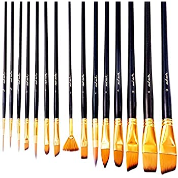 Mont Marte Art Paint Brushes Set, Great for Watercolor, Acrylic, Oil-15 Different Sizes Nice Gift for Artists, Adults & Kids, Black