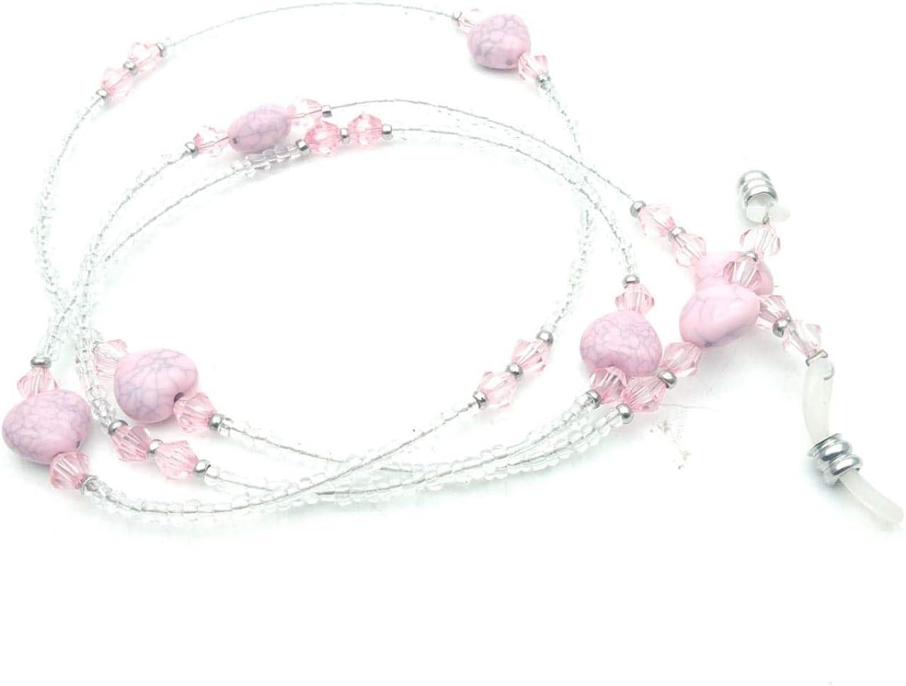 RSINC Eyeglass Chain Holder Fake Pink (Pink) Color Beaded Spectral Cord Non-slip Sunglass Chain Metal Alloy Holder Cord 70cm For Men, Women, Children