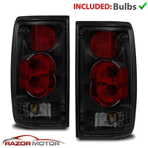 AmeriLite Black Smoke Replacement Brake Tail Lights Set for 89-95 Toyota Pickup - Passenger and Driver Side