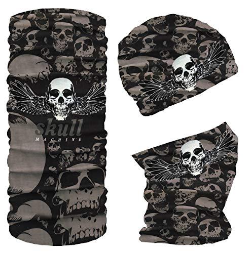 Blackshirt Company Multifunktionstuch Modischer Mund und Nasen Schlauchschal Totenkopf mit Flügel Farbe Muster