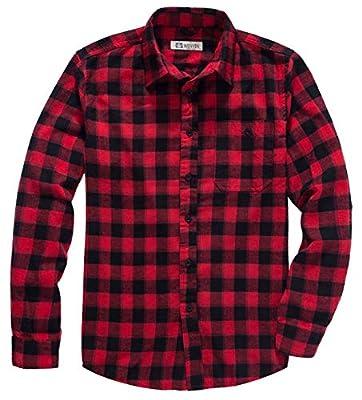WenVen Men's Long Sleeve Standard Fit Plaid Shirt