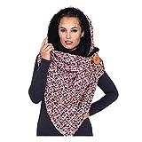 Bufanda multifuncional de invierno para mujer, hebilla con capucha, bufanda con estampado de cachemir de imitación, bufanda larga y cálida