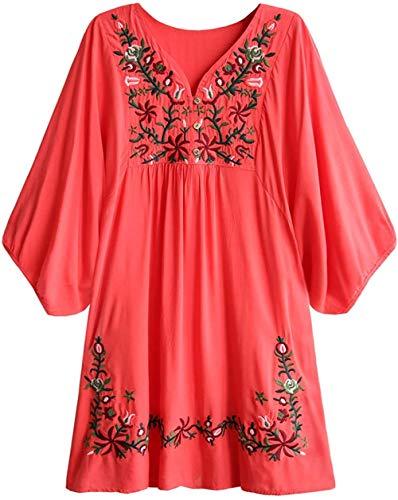 Wangwang454 Blusa de Mujer Boho Hippie Flores Bordadas Vestido de Blusa Mexicana Vestido de Verano Blusa de túnica de Bordado Bohemio-Sandía A8_S