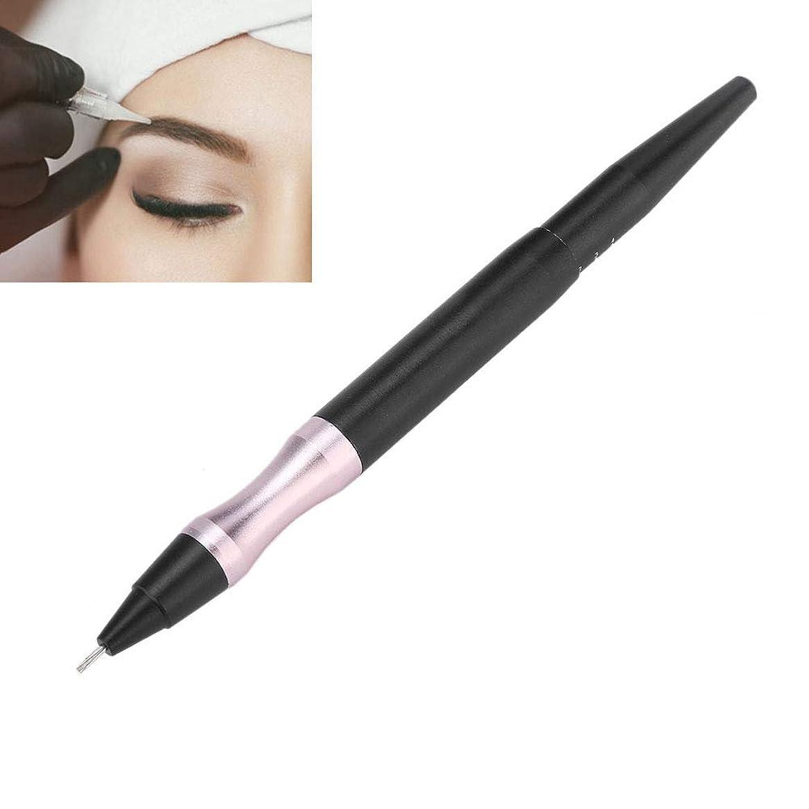 手動タトゥーペン、眉アイライナーの唇のための半永久的な化粧道具、滑り止めハンドル付き多目的マイクロブレードペン、マルチタイプの針に適しており、交換が容易(ブラック)