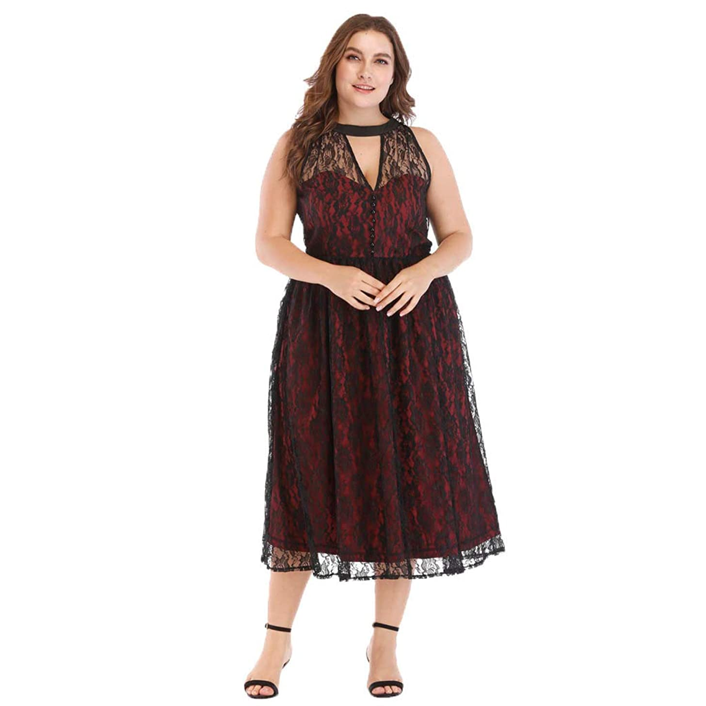 Mikilon Plus Size Embroidery Dress for Women Button Up V Neck Floral Lace Midi Dress