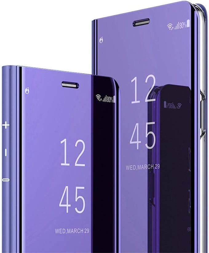 Galaxy S20 Ultra Case, Ankoe Luxury Translucent View Mirror Flip Electroplate Plating Stand Shockproof 360 Full Body Protective Hard PC Cover for Samsung Galaxy S20 Ultra (Purple)