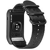 For Garmin Vivoactive J HR バンド, Fintie 編みナイロン 交換ベルト GARMIN ガーミン Vivoactive J HR スポーツウォッチ GPS 腕時計ストラップ (1ブラック)