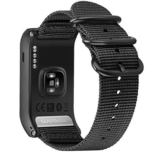 Fintie Armband kompatibel mit Garmin vívoactive HR Sport GPS-Smartwatch - Premium Nylon atmungsaktive Uhrenarmband Sport Armband verstellbares Ersatzband mit Edelstahlschnallen, Schwarz
