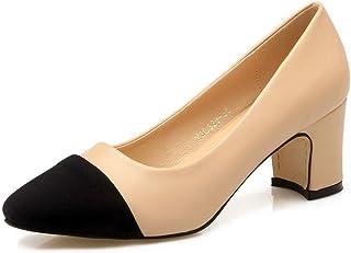 Vrouwen Dikke Hoge Hakken, Spitse Neus Shallow Pumps Chunky Slip-On Leather Office Dress Pump,Beige,35EU