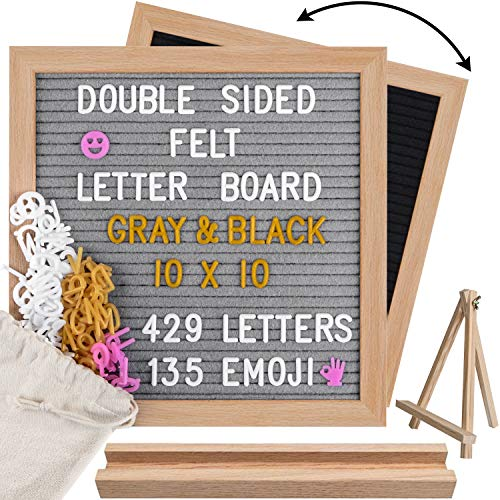 House Warming Sign and Home Decor. Black Felt Letter Board 10x10 with Changeable White Letters and Stand for a Message: for Baby Announcement