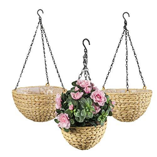 maDDma ® Blumenampel aus Wasserhyazinthe 3er Set, Hängeampel Pflanzampel