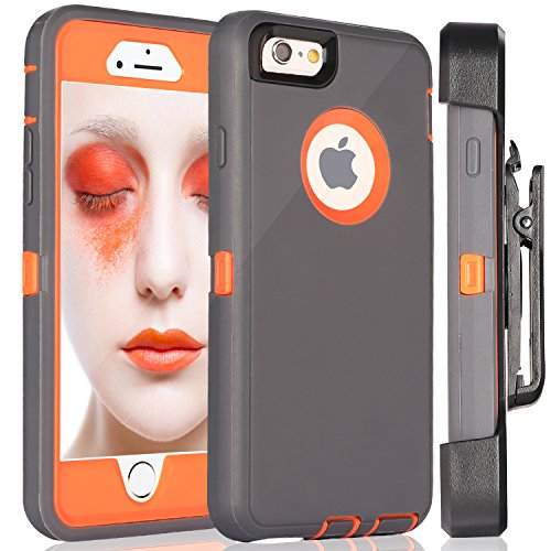 iPhone 6S Plus Case,FOGEEK Protective Case Heavy Duty Cover Compatible for iPhone 6 Plus & iPhone 6S Plus 5.5 inch 360 Degree Rotary Belt Clip & Kickstand (Dark Grey/Orange)