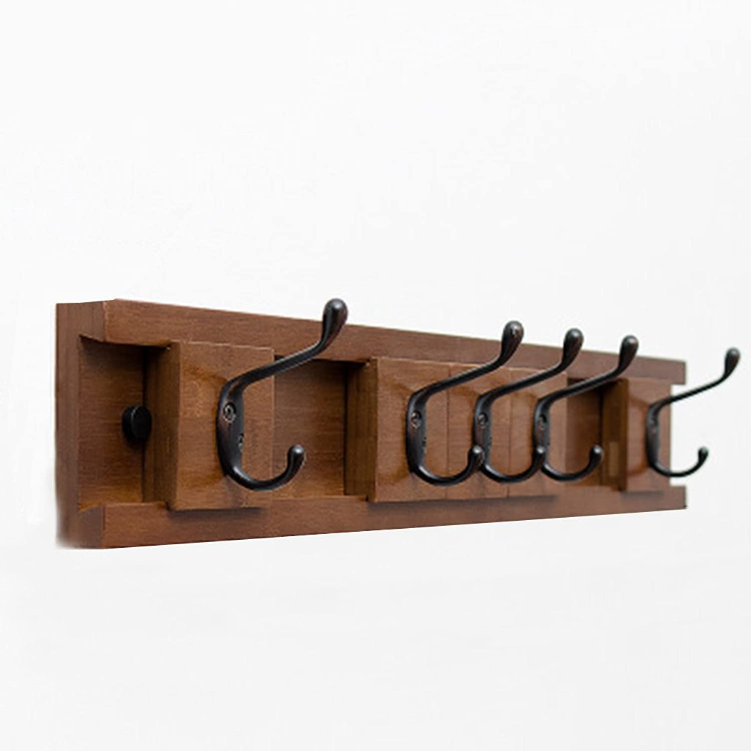 Coat Rack, Wooden Hook On The Wall Behind The Door Nordic Solid Wood Corner Coat Rack Wall Hanger Bedroom 35.4  9.8  2.4cm Easy to Install (color    2, Size   61.1  9.8  2.4cm)