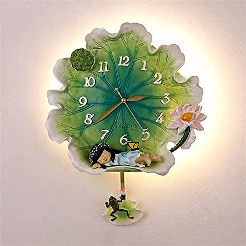 YANJ Lámpara de pared Lotus nueva lámpara de pared china Zen luces de engranaje luces creativas sala de estar estudio chino reloj de pared lámpara con función de reloj (color: luz de pared para niñas)