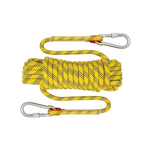 Cuerda de seguridad exterior de alta resistencia de 12 mm, 20 m, para camping, exterior, accesorios para escape, senderismo, deporte, color amarillo