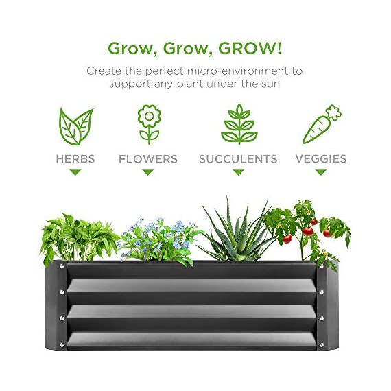 Best Choice Products 4x3x1ft Outdoor Metal Raised Garden Bed Box Vegetable Planter for Growing Fresh Veggies, Flowers… 5 EASY ASSEMBLY: Beveled edges can easily be screwed to the sides using a Phillips screwdriver and the included wingnuts and screws so it's ready in no time BUILT TO LAST: Made of powder-coated steel plates, with a rust-resistant finish to keep your garden bed looking its best for years to come OPEN-BOTTOM GARDEN BED: Built with an open base to prevent water buildup and rot, while allowing roots easy access to nutrients