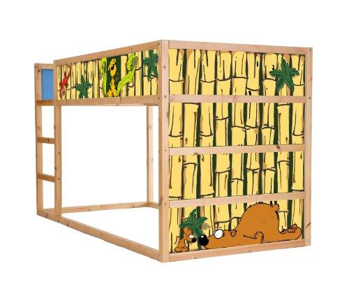 Stikkipix Djurvärld möbelfolie självhäftande/klistermärke – IM10 – lämplig för barnrummet våningssäng KURA från IKEA – möbel ingår inte