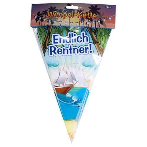 """Wimpel-Girlande \""""Endlich Rentner\"""" Kunststoff, 10 m, 15 Wimpel"""