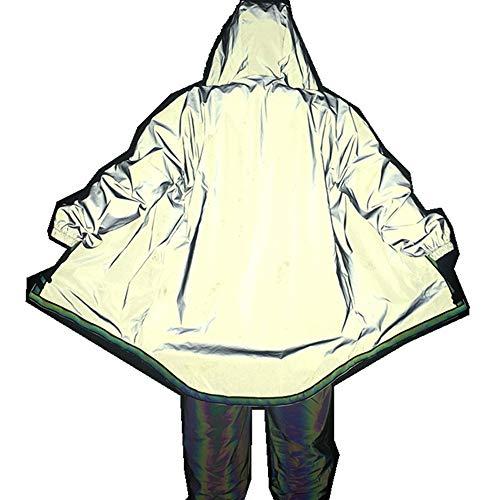QinWenYan sweatshirt, lange mouwen, reflecterend vest voor heren, met hip-hop, met capuchon, voor vrije tijd, voor de club, voor wandelen