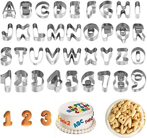37 Cortador galletas alfabeto, Usado para Fondant Galletas, Molde para decorar pasteles,con...