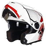Casco Modulare Bianco Casco Integrale Moto Nero Opaco Casco Integrale Nero Casco Integrale Modulare Moto Caschi Integrali per Moto Casco Moto Donna con Visiera,White A-3XL(65-66cm)