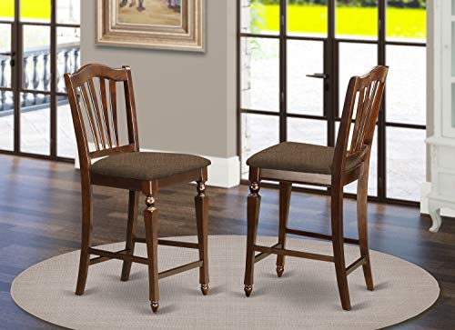 East-West Furniture CHS-MAH-C Chelsea Stools counter height chair- Microfiber Upholstery Seat and Mahogany Solid wood Frame bar stools set of 2