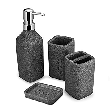TtoyouU 4pcs Grey Bath Accessory Set, Stone Textured Resin Soap Dish, Soap Dispenser,Toothbrush Holder & Tumbler Bath Ensemble Bathroom Accessory Collection Set (Grey with Letter)