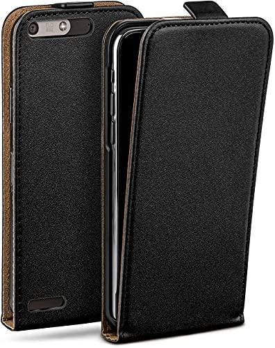 moex Flip Hülle für Huawei Ascend P7 Mini Hülle klappbar, 360 Grad R&um Komplett-Schutz, Klapphülle aus Vegan Leder, Handytasche mit vertikaler Klappe, magnetisch - Schwarz