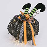 One Holiday Way Whimsical Lighted Twig and Vine Pumpkin with Witch Legs – Tabletop Halloween Decoration