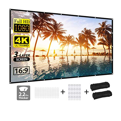 Projector Screen, Vamvo 3-Layer Projector Screen 120 Inch, Portable Projector Screen with 16:9 HD 4K for Party Home Theatre Cinema