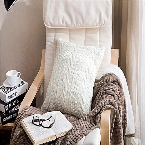LACMY Wolle gesponnenes dekoratives Kissen des Sofas Lendenmattenboden-Sitzkissens dekoratives quadratisches Kissenkissen