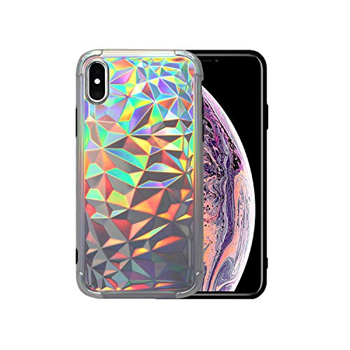 SEENPLEX iPhone Xs Max Case, 3D Diamond Pattern Soft TPUProtectiveCase ShockproofCover for iPhone Xs Max 6.5 inch(Laser Gray)