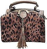La impresión atractiva del leopardo del Bolso mujer de hombro de las borlas de las mujeres Henkel Boston bolsa con cremallera de dos vías,marrón