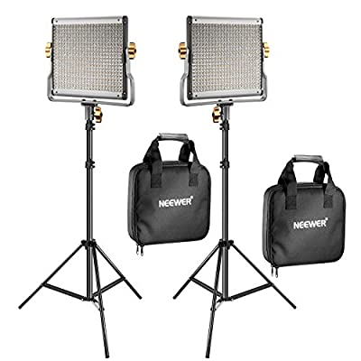 Neewer 2 Packs Dimmable Bi-Color 480 LED Video Light and Stand Lighting Kit Includes: 3200-5600K CRI 96+ LED Panel with U Bracket, 75 inches Light Stand for YouTube Studio Photography, Video Shooting