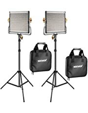 NEEWER 2 Packs Dimmable Bi-Color 480 LED Video Light and Stand Lighting Kit Includes: 3200~5600K CRI 96+ LED Panel with U Bracket, 75 inches Light Stand for YouTube Studio Photography, Video Shooting, black, 30.5 x 25 x 5.5 inches