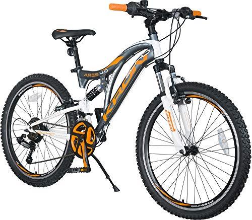 KRON ARES 4.0 Vollgefedertes Kinder Mountainbike 24 Zoll ab 10, 11, 12, 13, 14 Jahre   21 Gang Shimano Kettenschaltung mit V-Bremse   Kinderfahrrad 15 Zoll Rahmen Vollfederung   Grau Orange