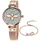 Small Rose Gold Watches for Women,Stainless Steel Mesh Women's Classic Dress Watch Quartz Wrist Watches for Lady,Gold Watch for Women Casual Fashion Ladies Wrist Watch,Classic Bee Watch Women