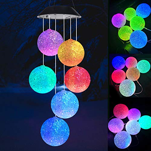Wind chimes, Solar wind chimes, Crystal ball wind chimes,Garden decor, Gifts for mom, Color Changing Wind Chime,Waterproof Outdoor Decorative Romantic Wind Bell Light for Patio Yard Garden Home