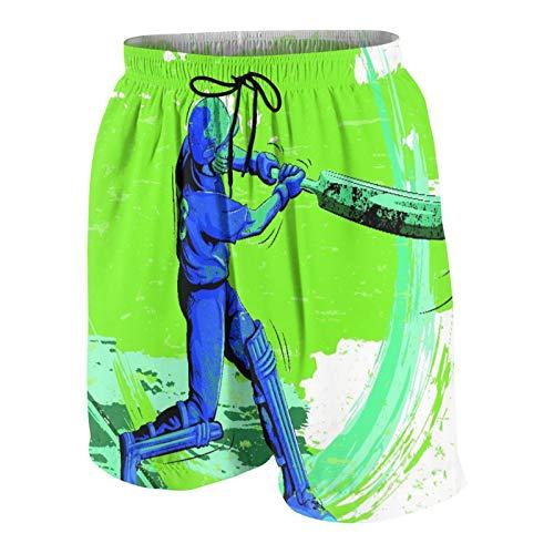 KOiomho Hombres Personalizado Trajes de Baño,Concepto de Deportista Jugando al críquet,Casual Ropa de Playa Pantalones Cortos 🔥