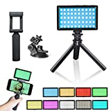 Luz de Video LED RGB,Foco Camara 3200K-5600K Ajustable Luz de la cámara Fotografía Luz,Mini Vlog CRI 95 Kit de trípode de luz de Video Luz de Relleno para iPhone dji Osmo Móvil