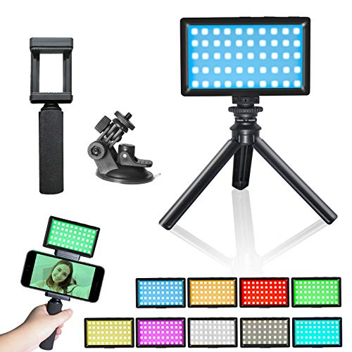 Luz de Video LED RGB 3200K-5600K Kit de trípode de luz de Video Mini Vlog CRI 95 Luz de Relleno RGB Colorida Regulable Iluminación fotográfica Batería incorporada para Estudio de cámara fotográfica
