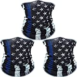 3 Pack American Flag Face Mask Seamless Outdoor Microfiber Motorcycle Face Mask Outdoor Mask for Sport Headwear Hiking Cycling Ski Snowboard (American Flag with Blue Strap)
