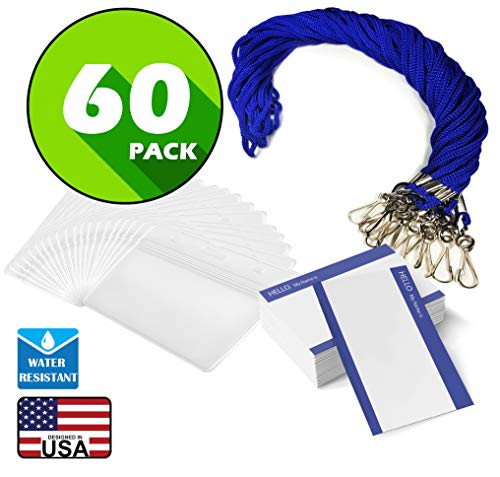 Waterproof Name tag with Lanyard Swivel J-Hook Clip Kids Name Label School Camp Field Trip Church Business Event Trade Show Conference Badge Holder (Royal Blue Horizontal, 60 Pack)