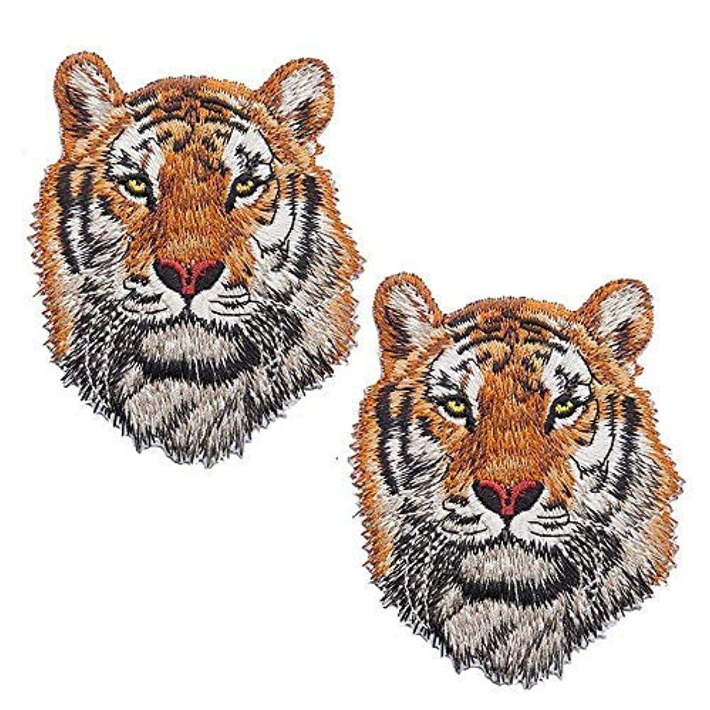 2 Pack Delicate Embroidered Patches, 2 Tiger Embroidery Patches, Iron On Patches, Sew On Applique Patch, Custom Backpack Patches for Men, Boys, Kids, Super Cool! (L)